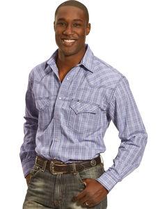 Crazy Cowboy Men's Blue Plaid Long Sleeve Western Snap Shirt, , hi-res