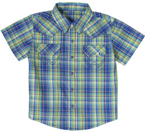 Wrangler Infant Boys' Turquoise Plaid Short Sleeve Western Shirt, Turquoise Plaid, hi-res