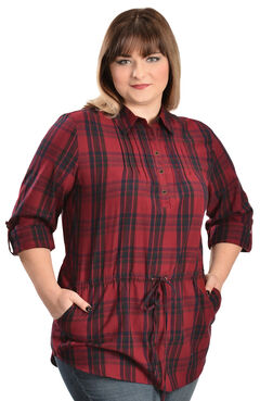 Red Ranch Women's Red Plaid Tunic - Plus, , hi-res