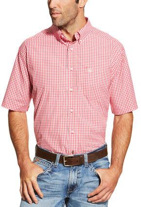 Ariat Men's Red Newbury Short Sleeve Shirt , Red, hi-res