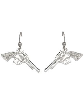 Montana Silversmiths Rhinestone Encrusted Pistol Earrings, Silver, hi-res