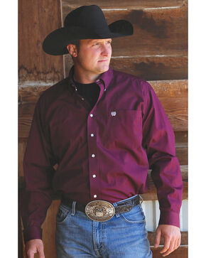 C‌inch Men's Solid Burgundy Button Long Sleeve Shirt, Burgundy, hi-res