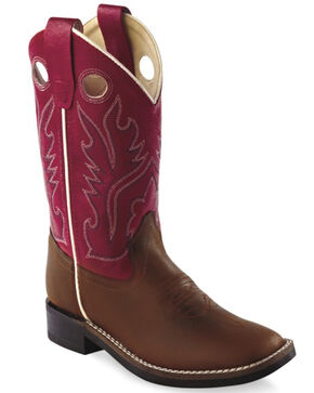 Old West Boys' Red Cowboy Boots - Square Toe, Distressed, hi-res