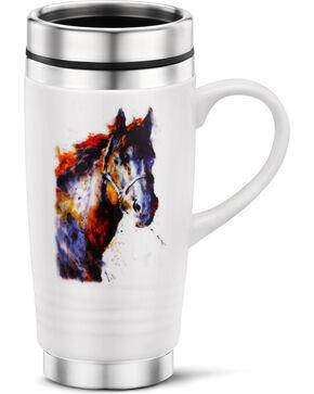 Big Sky Carvers Poncho Horse Travel Mug, White, hi-res