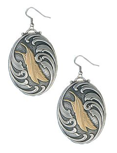 Montana Silversmiths Two Feathers Native Spirit Earrings, , hi-res
