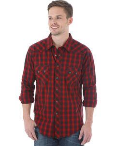 Wrangler Men's Red & Black Plaid Western Jean Shirt, Red, hi-res