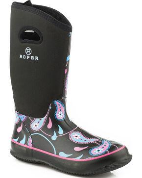 Roper Women's Black Waterproof Barn Boots - Round Toe, Black, hi-res