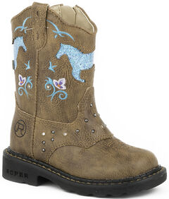 Roper Toddler Girls' Glitter Horse Light-Up Cowgirl Boots, , hi-res
