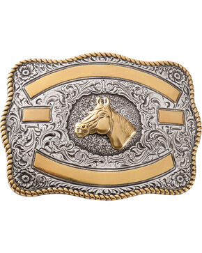 Two-tone Horse Belt Buckle, Silver, hi-res