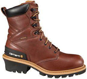 "Carhartt 8"" Redwood Waterproof Logger Boots - Steel Toe, Brown, hi-res"