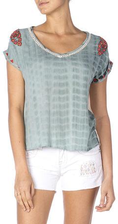 Miss Me Tie-Dye Embroidered Top, , hi-res