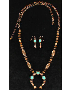 Blazin Roxx Women's Embossed Stone Squash Jewelry Set , Rust Copper, hi-res