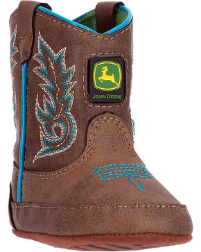 "John Deere Infant Boys' 3"" Turquoise Piping Boots - Round Toe , Turquoise, hi-res"