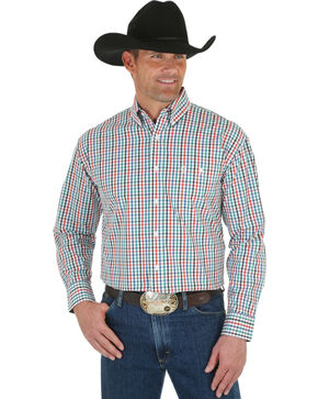 Wrangler George Strait Men's Emerald & White Plaid Shirt, White, hi-res