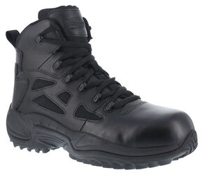 "Reebok Men's Stealth 6"" Lace-Up Side Zip Work Boots - Composition Toe, Black, hi-res"