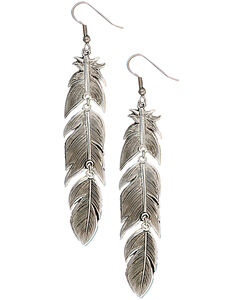 Montana Silversmiths Silver Plume Feather Dangle Earrings, , hi-res