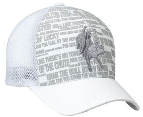 PBR White Mesh Back Screen Print & Patch Cap, White, hi-res