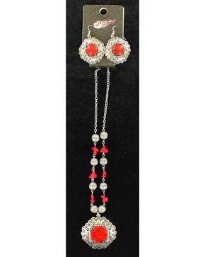 Blazin Roxx Red Stone Cross Necklace & Earrings Set, Red, hi-res