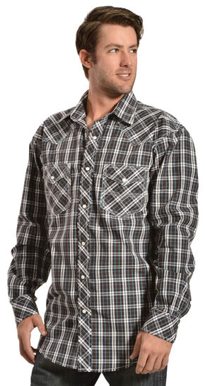 Red Ranch Blue and Brown Plaid Western Shirt, Brown, hi-res