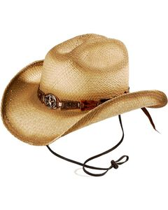 Bulllhide Star Central Straw Cowboy Hat, Natural, hi-res