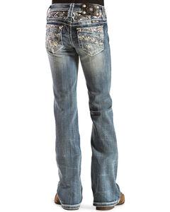 Miss Me Girls' Open Pocket Embellished Jeans, , hi-res