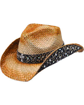 Peter Grimm Weiden Animal Print Embellished Straw Cowgirl Hat, Brown, hi-res