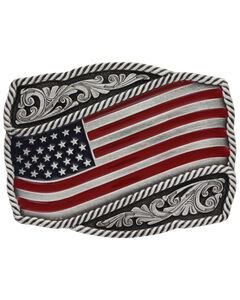Montana Silversmiths Men's Classic Painted Waving Flag Buckle , , hi-res