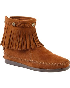 Minnetonka Back Zipper Ankle Moccasins, Brown, hi-res