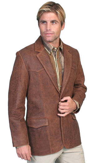 Scully Lamb Leather Blazer - Big & Tall, Brown, hi-res