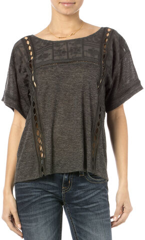 Miss Me Women's Breezeway Short Sleeve Top, Charcoal Grey, hi-res