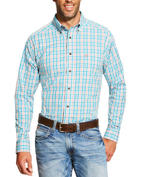 Ariat Men's Turquoise Emmett Long Sleeve Shirt, Turquoise, hi-res