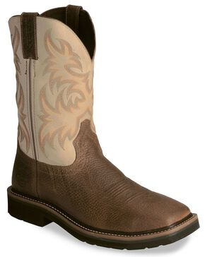 Justin Stampede Copper Western Work Boot - Square Soft Toe, Copper, hi-res