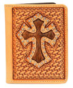 Nocona Basketweave Cross Cutout with Hair-on-Hide Inlay Bi-Fold Wallet, , hi-res