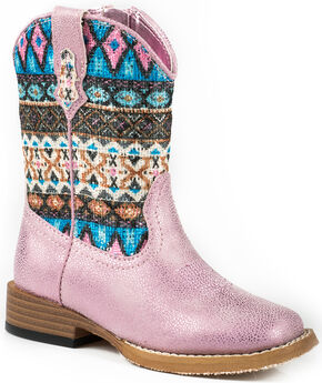 Roper Toddler Girls' Glitter Pink Aztec Cowgirl Boots - Square Toe , Pink, hi-res