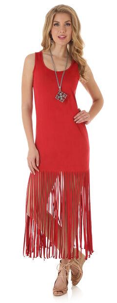 Wrangler Women's Sleeveless Faux Suede Fringe Dress, , hi-res