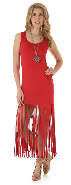 Wrangler Women's Sleeveless Faux Suede Fringe Dress, Red, hi-res