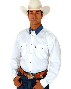 Roper Contrast Collar Twill Shirt, White, hi-res