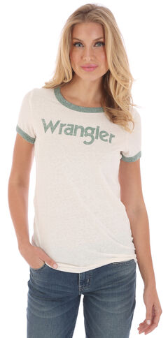 Wrangler Women's White and Green Ringer T-Shirt , , hi-res