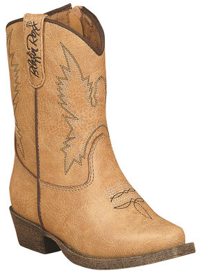 Blazin Roxx Toddler Girls' June Zipper Cowgirl Boots - Snip Toe, Tan, hi-res