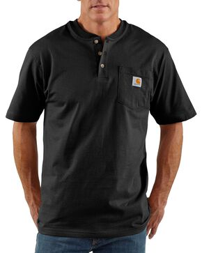 Carhartt Short Sleeve Henley Work Shirt - Big & Tall, Black, hi-res