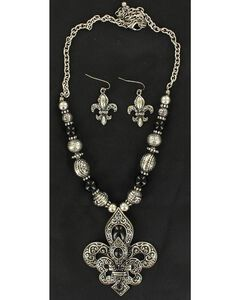 Blazin Roxx Double Fleur-De-Lis Necklace & Earrings Set, , hi-res