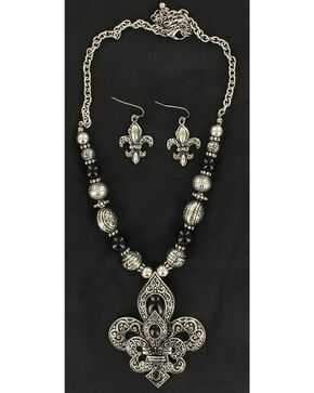 Blazin Roxx Double Fleur-De-Lis Necklace & Earrings Set, Silver, hi-res