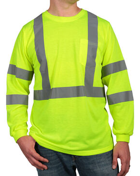 American Worker Men's Long Sleeve High Visibility T-Shirt, Yellow, hi-res