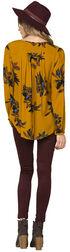 Miss Me Women's Mustard Yellow Floral Soiree Peasant Top , Mustard, hi-res