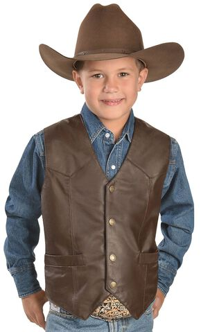 Red Ranch Boys' Leather Vest, Brown, hi-res