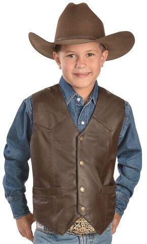 Red Ranch Boys' Leather Vest, Brown, hi-res