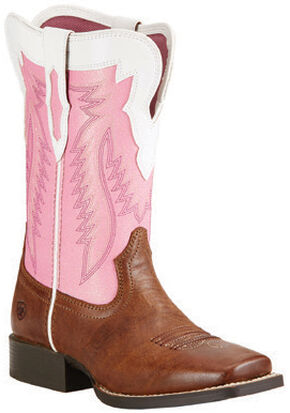 Ariat Youth Girls' Buscadero Cowgirl Boots - Square Toe, Wood, hi-res
