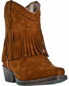 Dan Post Girls' Gingersnap Fringe Cowgirl Boots - Snip Toe, Rust, hi-res