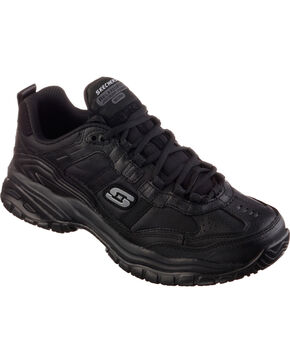 Skechers Men's Black Soft Stride Mavin Slip Resistant Work Shoes, Black, hi-res