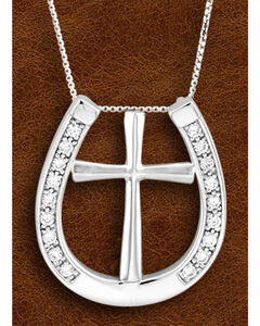 Kelly Herd Sterling Silver Rhinestone Horseshoe & Cross Charm Necklace, , hi-res